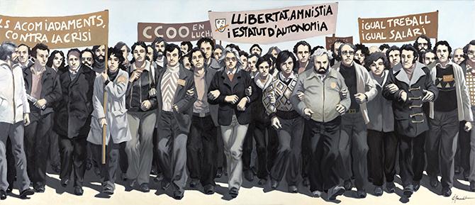 Oleo para el cincuentenario de CCOO de Cataluña.
